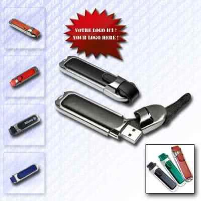 Clé USB en cuir avec étui métallique Bretel