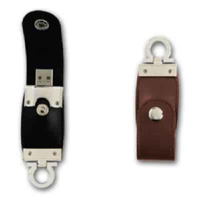 Clé USB avec languette de cuir EMO