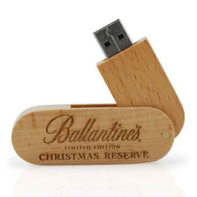 Clé USB pivotante à 360° en bois Emery