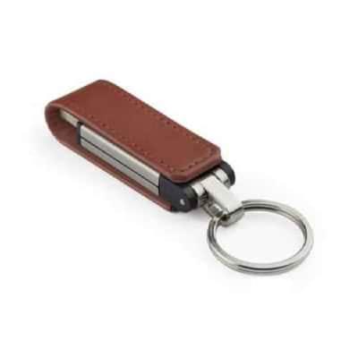 Clé USB en cuir avec attache métallique Budva