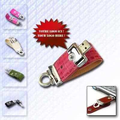 Clé USB avec languette de protection en cuir Arlera