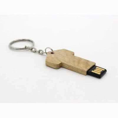 Clé USB en bois en forme de clef avec anneau Weneit